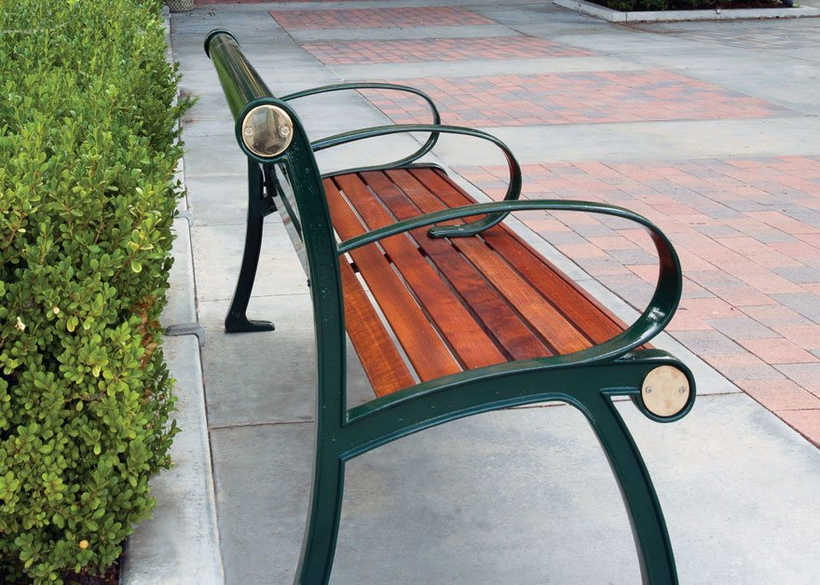 with cast aluminum frame and Jatoba hardwood seating