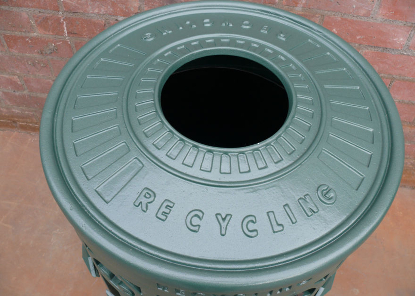 with raised recycling lettering.