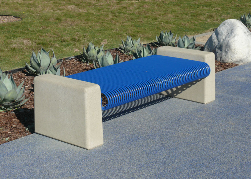 with concrete supports and curved steel bar seating